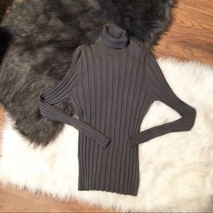 Style & Co Gray Ribbed Turtleneck Sweater XL